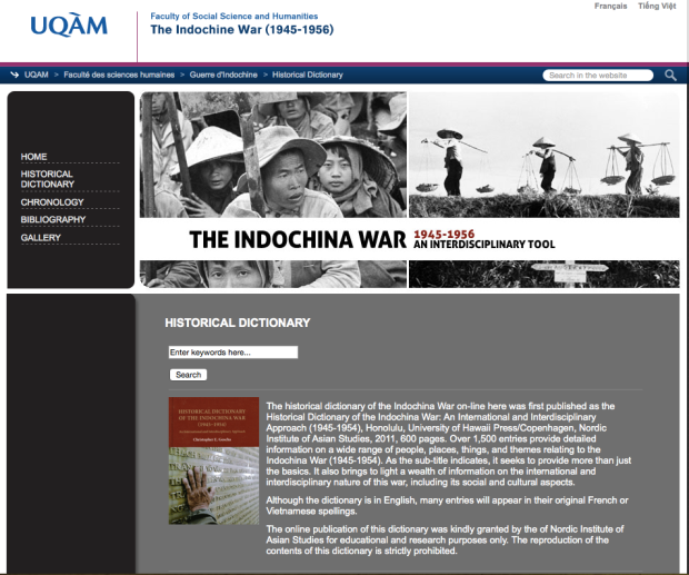 The historical dictionary of the Indochina War on-line Interdisicplinary Tool