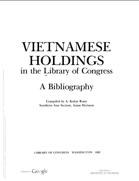 Bibliography of Vietnamese Holdings, published in 1982
