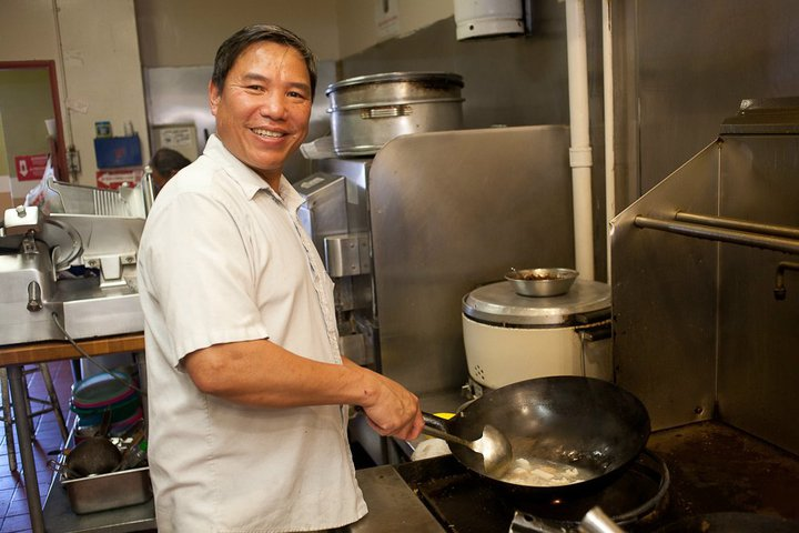 My dad Trung Nguyen in the back, cooking up some delicious food! Long Hai Restaurant, Tustin, California.